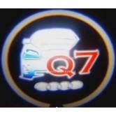 Подсветка в двери авто логотип - AUDI Q7 -  лазерная проекция логотипа в двери автомобиля AUDI Q7